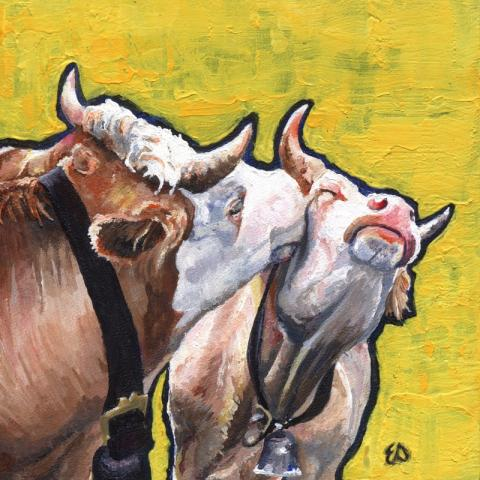 Emma Slaymaker's cow painting, to be displayed at the Emporium Center in Knoxville Tennessee