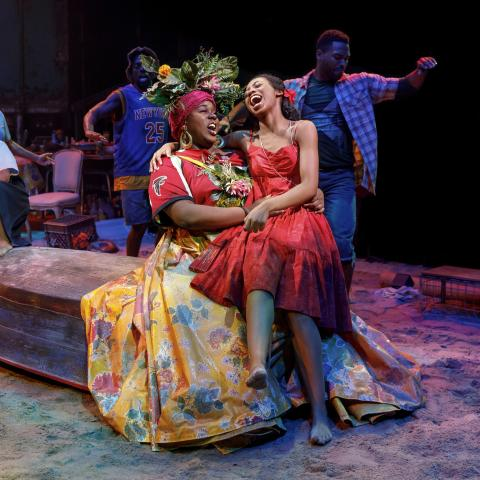 Mia Williamson as 'Little Girl,' Alex Newell as 'Asaka' and Hailey Kilgore as 'Ti Moune' and the company of Once on this Island.