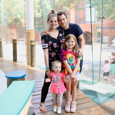 Brandy, Dale, Lindsey and Brooklyn Williams - the five millionth visitors to Children's Discovery Museum in Chattanooga